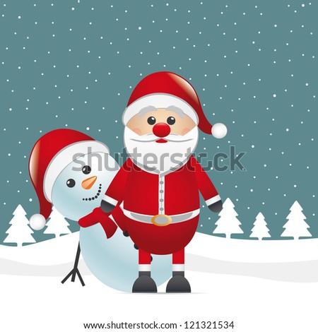 snowman look behind santa claus winter landscape - stock vector