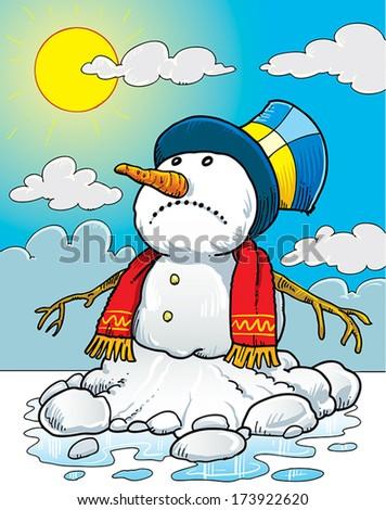 Snowman melting on the sun. - stock vector