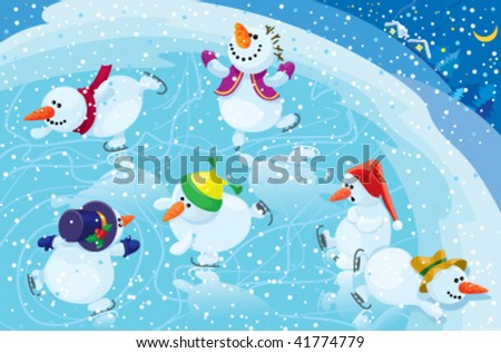 Snowman on a skating rink - stock vector