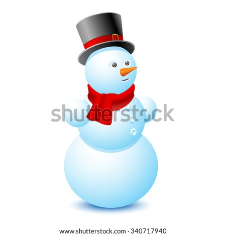 Snowman on a white background. Vector illustration. - stock vector