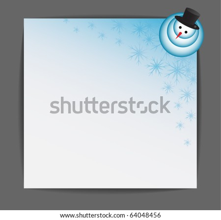 snowman on paper - stock vector