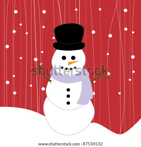 Snowman on red background, vector - stock vector