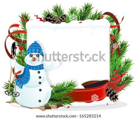 Snowman on Skis and Christmas wreath with  pine cones and ribbons  - stock vector