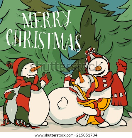 Snowman Playing In The Snow - Christmas Card Illustration For Children,Vector Cartoon, Traditional Winter Theme. - stock vector