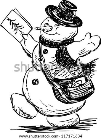 snowman postman - stock vector