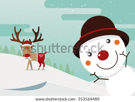 Snowman red nose and reindeer red nose with winter landscape. Christmas decoration. Vector Illustration. - stock vector