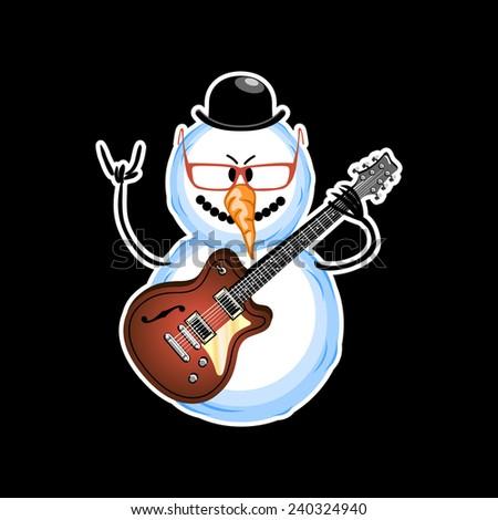 snowman rocker on a black background - stock vector