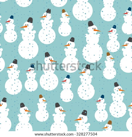 Snowman seamless pattern. Christmas background. Ornament from snowmen to celebrate new year.