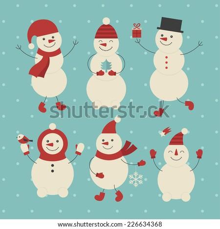 snowman set design. vector illustration - stock vector