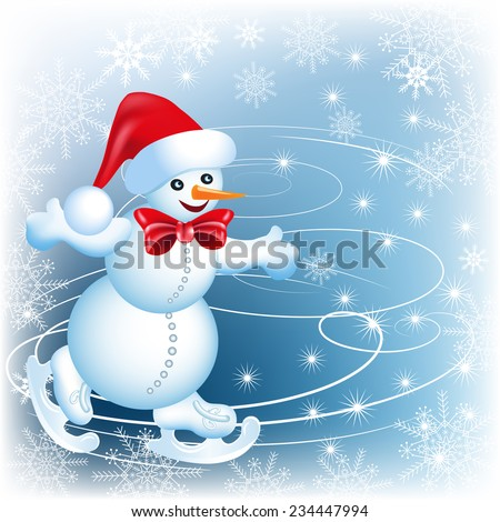 Snowman skates in Santa Claus hat and red bow  - stock vector