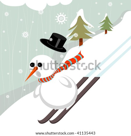 Snowman Skiing Illustration