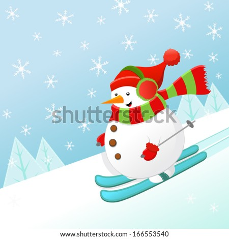 Snowman Skiing With Joy - stock vector