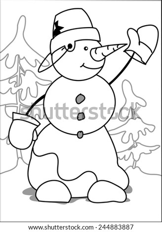 Snowman. Snowman with a bucket on his head on a background of trees stands raising his hand. coloring