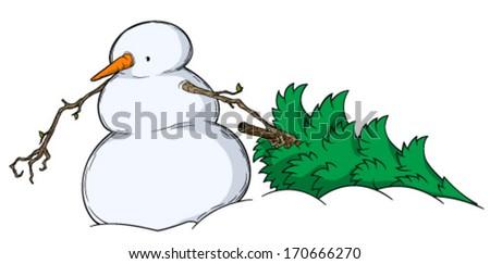 Snowman Spruce Dragging  - stock vector