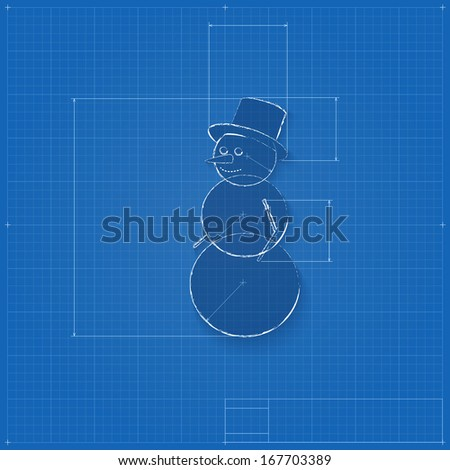 Snowman symbol drawn blueprint stylized drafting stock vector hd snowman symbol drawn as blueprint stylized drafting of gift sign on blueprint paper vector malvernweather Image collections
