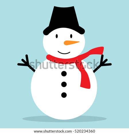 Snowman vector illustration on blue background for Christmas design.