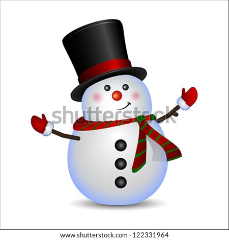 Snowman, vector. Winter concept. Isolated on white