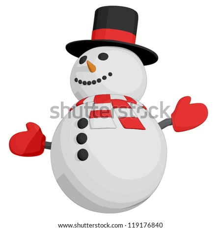 Snowman (3/4 view) - stock vector