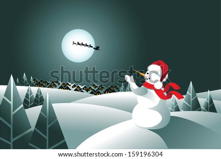 Snowman waving to Santa Claus. EPS 10 vector, grouped for easy editing. No open shapes or paths. - stock vector