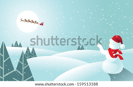 Snowman waving to Santa Claus in soft blue. EPS 10 vector, grouped for easy editing. No open shapes or paths. - stock vector