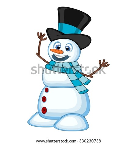 snowman wearing a hat and a blue scarf for your design vector illustration