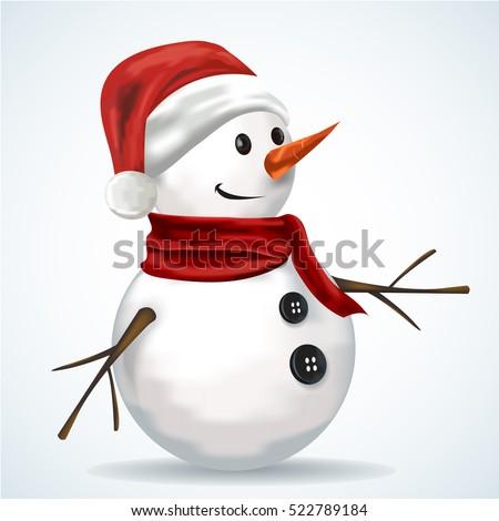 snowman wearing santa hat