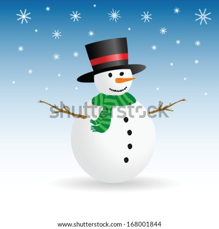 snowman winter color vector illustration