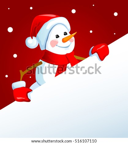 Snowman with a blank placard.Vector illustration