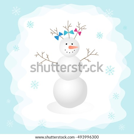 Snowman with a bow in the forest. Vector illustration. Perfect for design cards, invitations, posters, holiday decoration, printing on clothing, web design, Christmas card