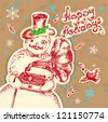 Snowman with a gramophone greeting card. - stock vector