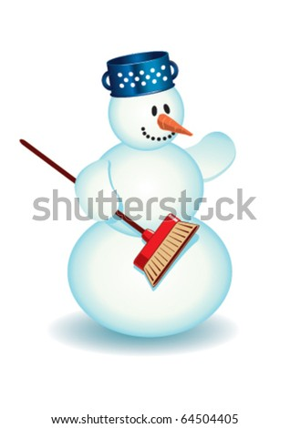 Snowman with a pot and broom - stock vector