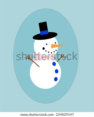Snowman with black hat and carrot in a blue frame. EPS vector format.
