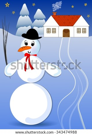 Snowman with bowler hat and red scarf in a snowy landscape with rural house and spruce trees. Dusky winter idyllic image, the snow lit up the darkened landscape - stock vector