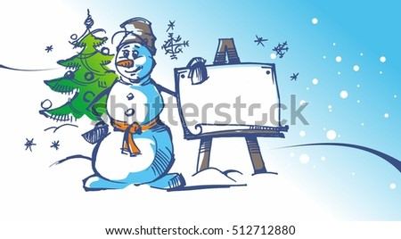Snowman with Christmas tree near easel