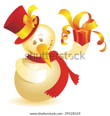 Snowman with gift. Vector illustration.