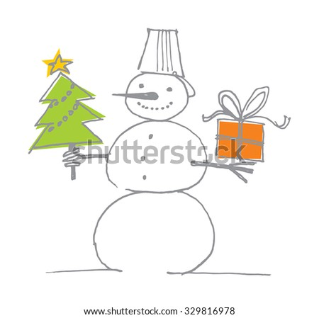 Snowman with gifts, sketch festive snowman