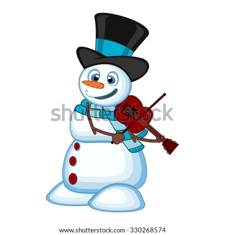 snowman with hat and blue scarf playing the violin for your design vector illustration