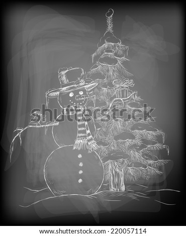 Snowman with hat and scarf holding Christmas gift and little cute bird with Christmas hat perching on snowman arm and Christmas gift on its beak and fir tree covered with snow. - stock vector