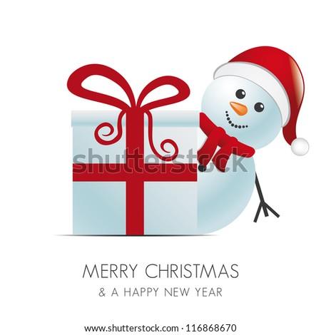 snowman with santa hat behind gift box - stock vector
