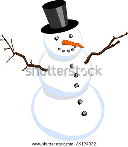 Snowman with stovepipe hat isolated on white background (raster also available)