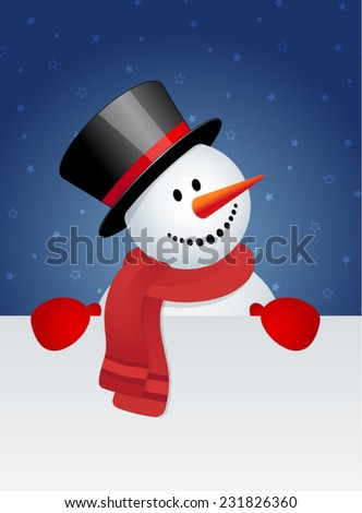 Snowman with white blank card - stock vector