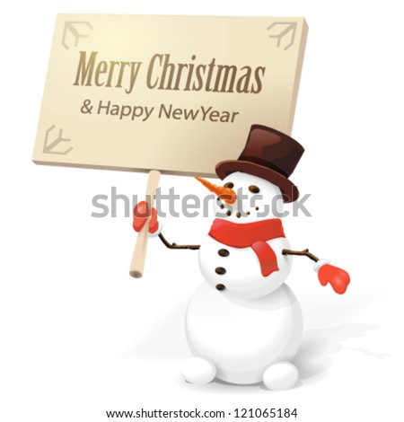 Snowman with wooden sign - stock vector