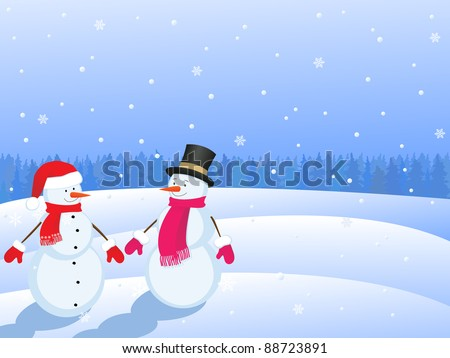 snowmans  in winter landscape - stock vector
