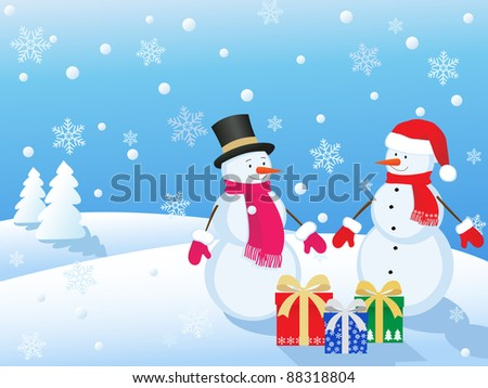 snowmans  in winter landscape with gifts - stock vector