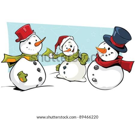 Snowmen - stock vector