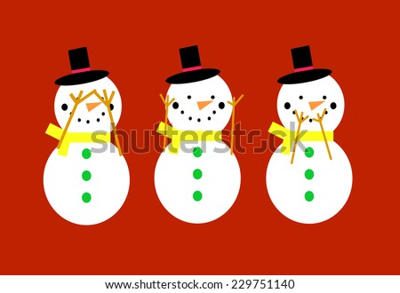 Snowmen on a red background doing see no evil, hear no evil, speak no evil poses.  EPS vector format. - stock vector