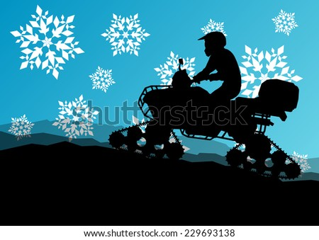 Snowmobile all terrain quad motorbike vehicle rider in wild nature snow and ice landscape background illustration - stock vector