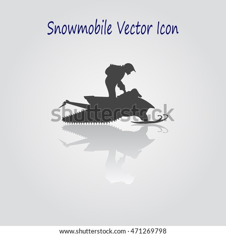 Snowmobile emblem. Snowmobile vector illustration. Men riding  a snowmobile on a frozen lake. Person riding a snowmobile. Web sites and print projects. Snowmobile sticker.