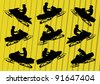 Snowmobile motorbike riders silhouettes illustration collection background vector - stock vector