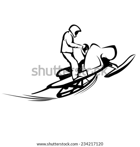 Snowmobiles - stock vector